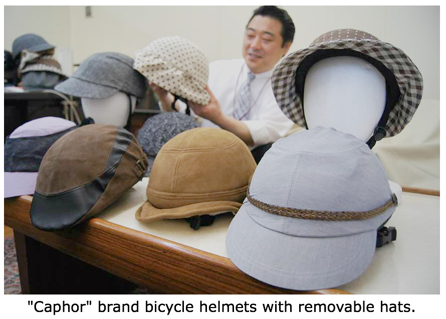 Caphor brand bicycle helmet with removable hat for elderly bike riders in Japan