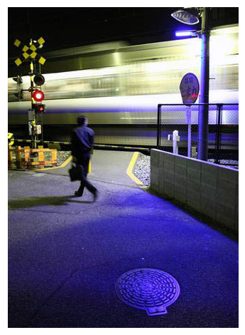 Blue LED lamp prevents suicide at train crossing in Osaka Japan
