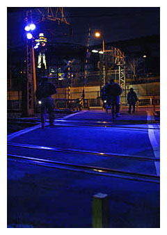 Blue LED light at train crossing in Osaka Japan.