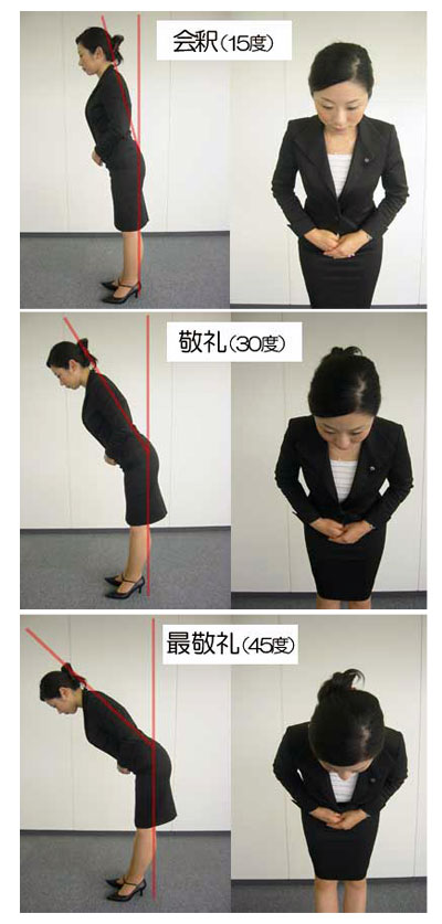 Degrees and angles of bowing in Japan