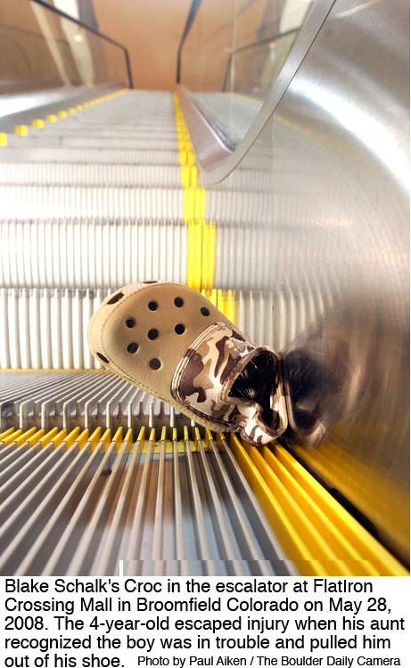 Crocs sandal damaged in escalator
