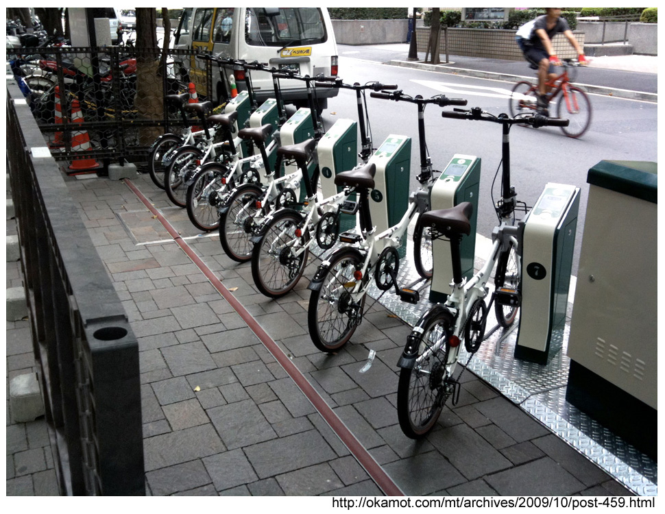 Tokyo eco-port community bicycle parking area.