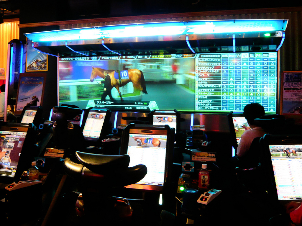 Horse racing multi-player game in Japan arcade game center