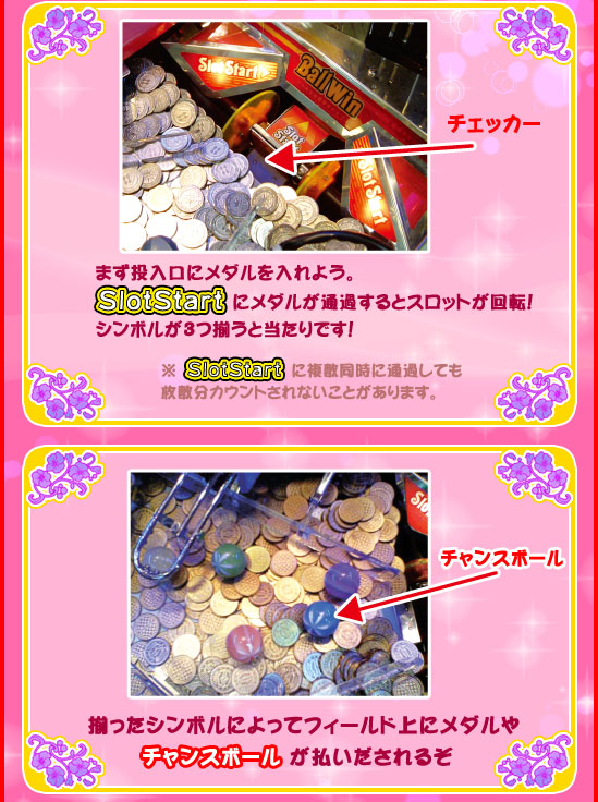 Large text instructions for elderly medal game in Japan arcade game center