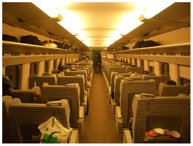 Interior of bullet train in Japan