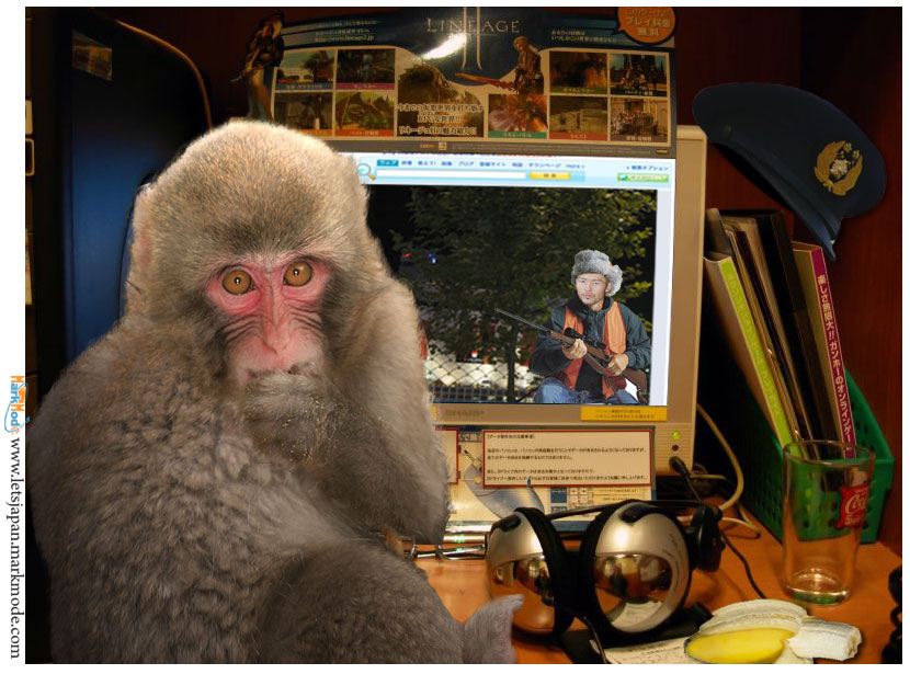 The Shibuya monkey reacts to hunting news in Japan