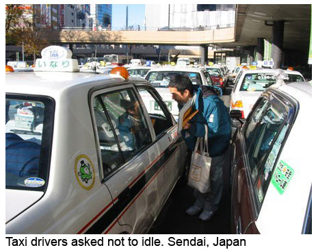 Taxi drivers in Sendai, Japan asked to turn off engines and stop diling.