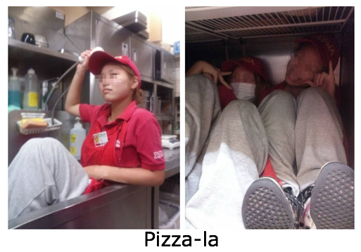 Part-time employees at a Pizza-la in Japan sit in restaurant sink and post photos on twitter