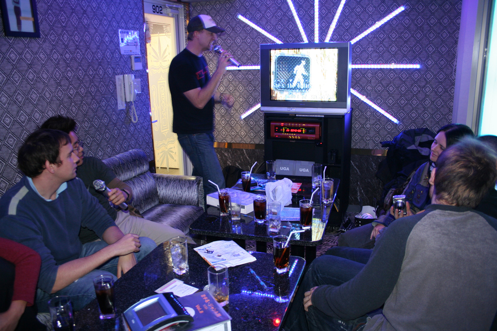 A karaoke box room in Japan