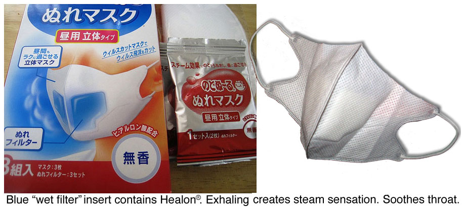 Flu face mask in Japan with cooling steam effect and Healon.