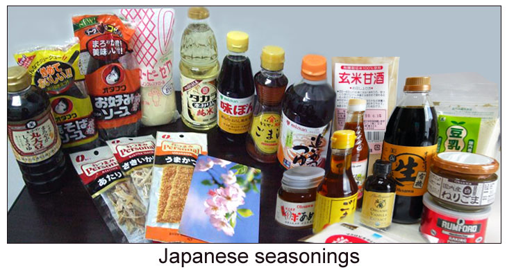 Many Japanese spices and sauces.