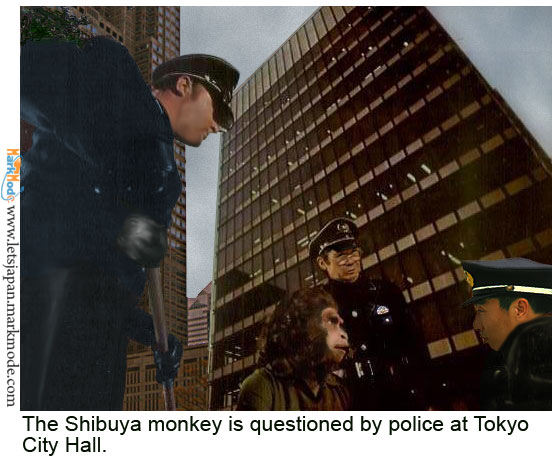 Police question the Shibuya station monkey at Tokyo city hall.