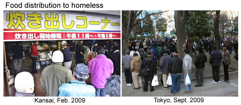 Free food distribution to homeless by charity in Japan.