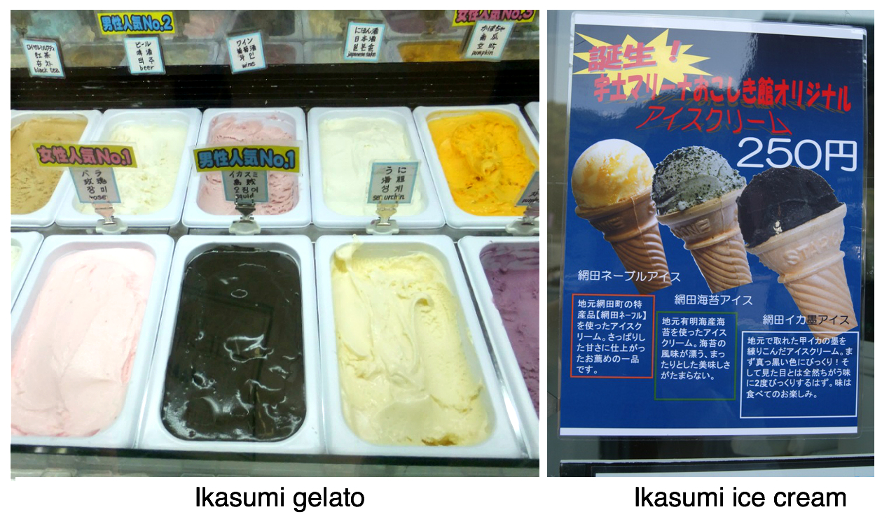 Ice cream with squid ink in Japan squid ink gelato ikasumi