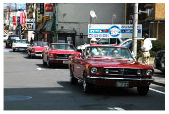 American classic old cars in Fussa, Japan auto show.