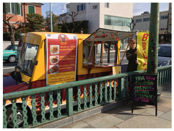 Barbecue BBQ Japanese food truck in Japan