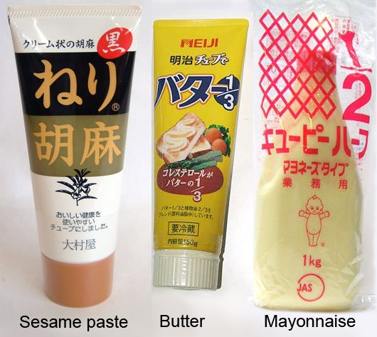 Sesame and butter in a plastic bottle tube in Japan.