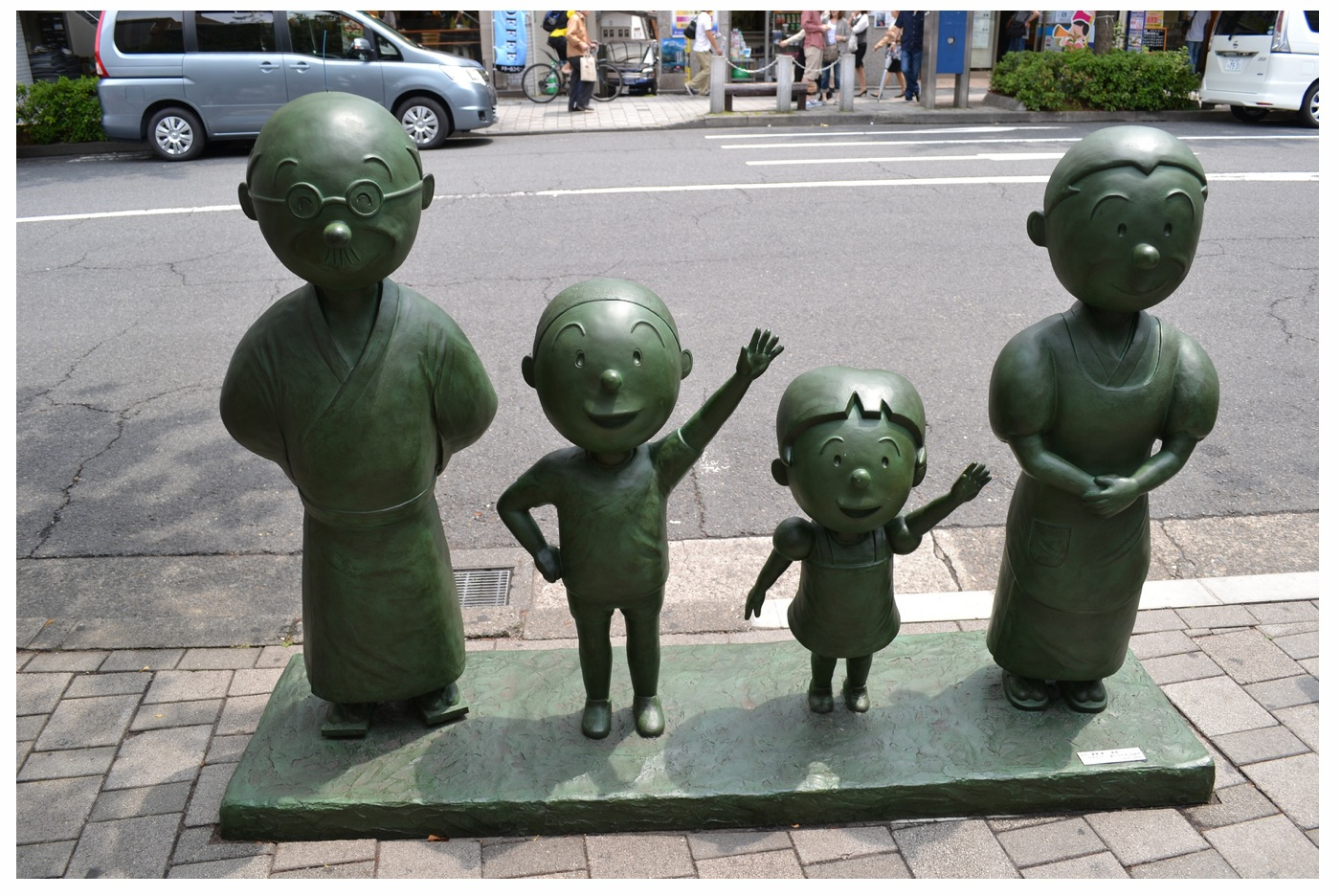 Namihei anime Sazae-san family bronze statue in Japan