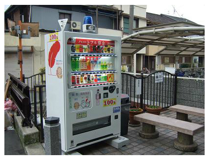 Surveillance camera on top of soft drink vending machine in Japan