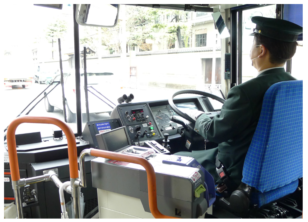 Surveillance camera on city bus in Kyoto Japan watches for illegally parked cars