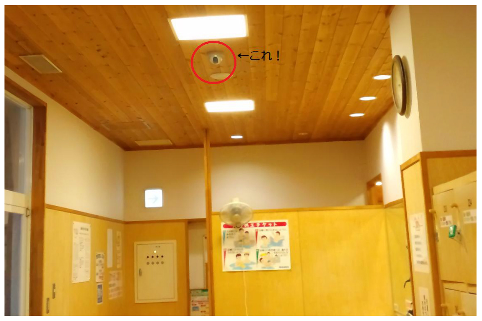 madarao kogen hot springs Japan changing room security camera