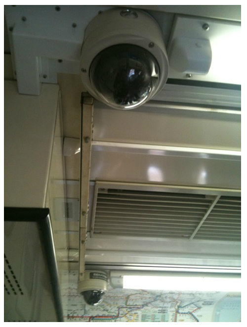Surveillance camera in Saikyo line train carriage in Tokyo, Japan