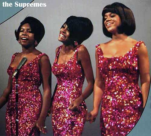 The Supremes red glitter dresses